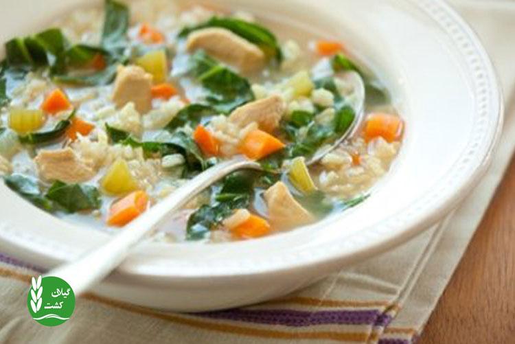 سوپ برنج قهوه ای